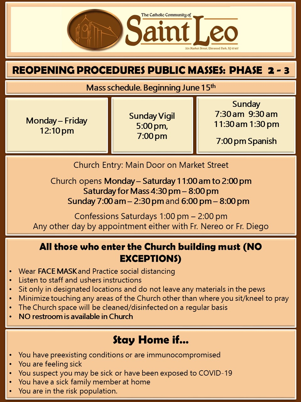 REOPENING CHURCH FOR MASSES JUNE 15